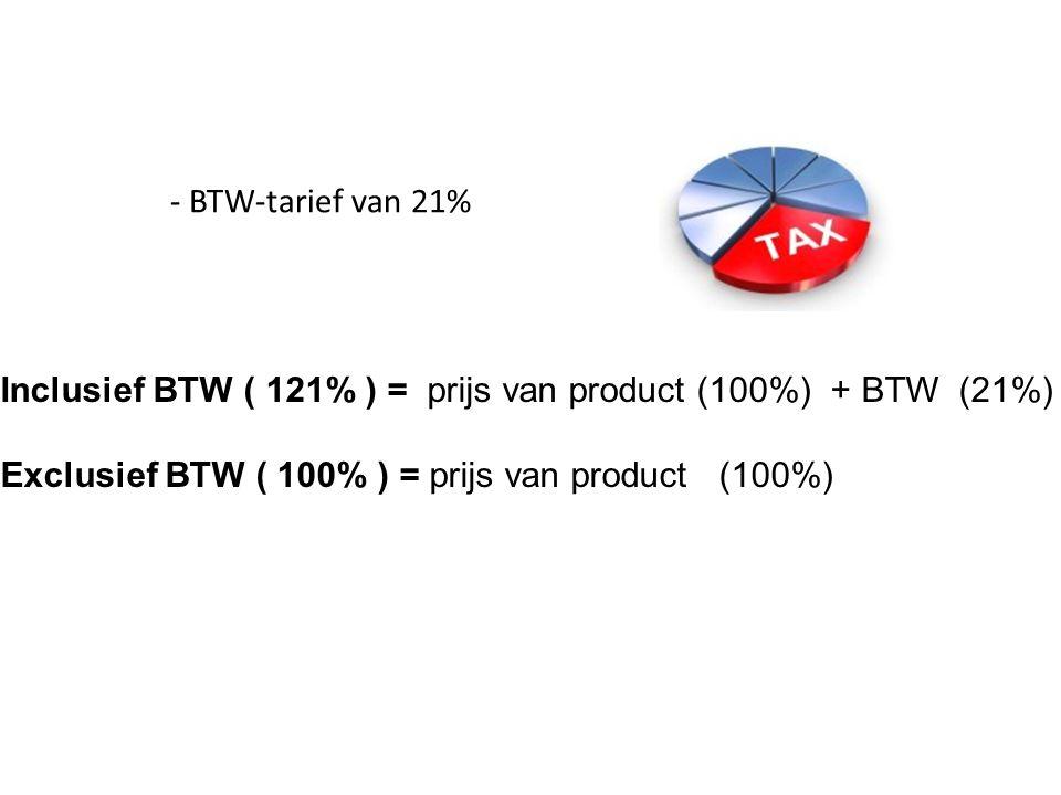 - BTW-tarief van 21% Inclusief BTW ( 121% ) = prijs van product (100%) + BTW (21%) Exclusief BTW ( 100% ) = prijs van product (100%)