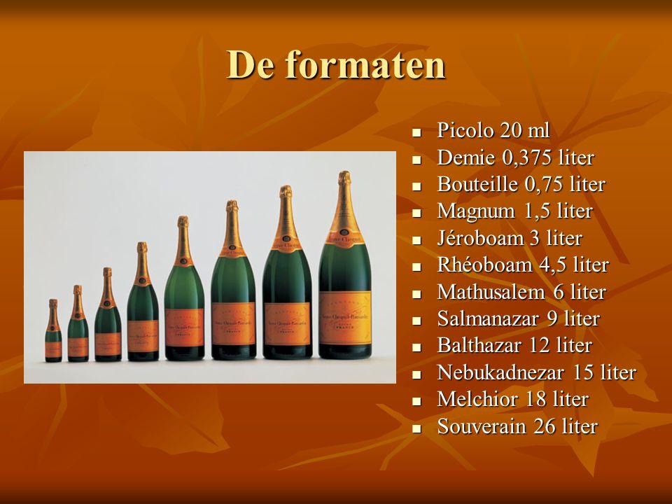De formaten Picolo 20 ml Demie 0,375 liter Bouteille 0,75 liter
