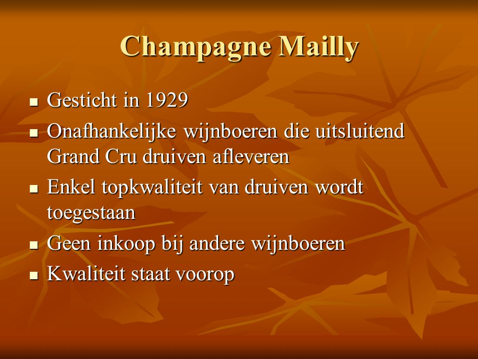 Champagne Mailly Gesticht in 1929