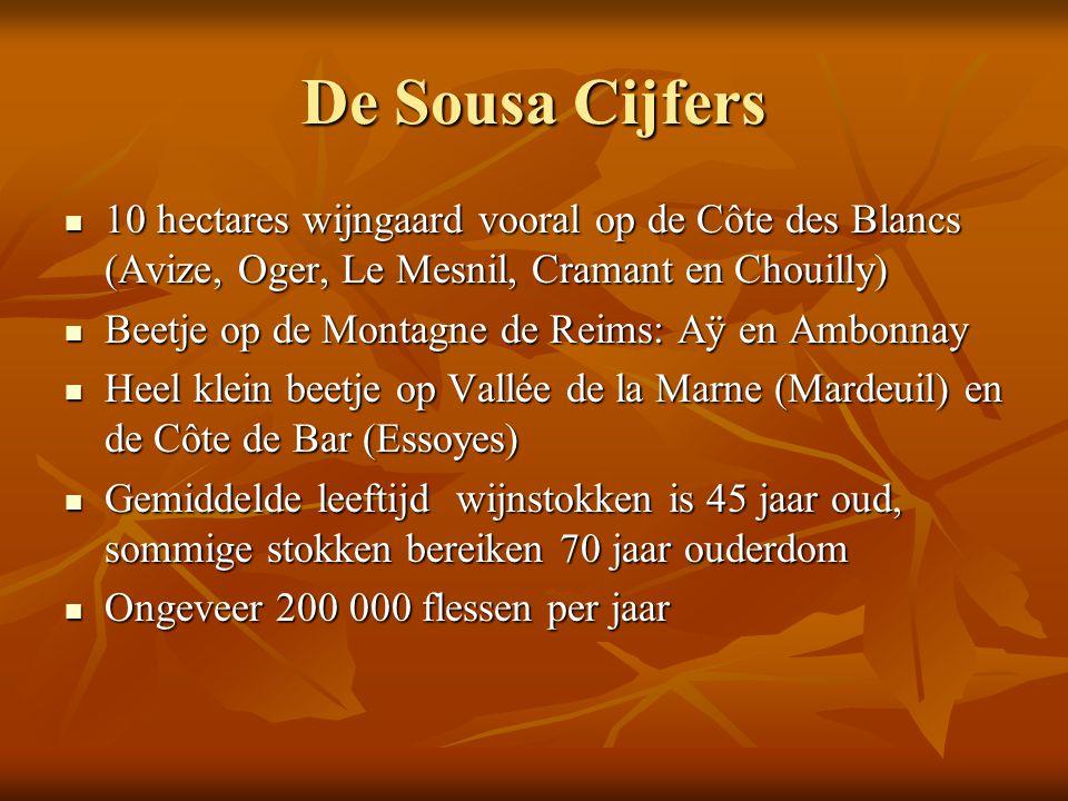 De Sousa Cijfers 10 hectares wijngaard vooral op de Côte des Blancs (Avize, Oger, Le Mesnil, Cramant en Chouilly)