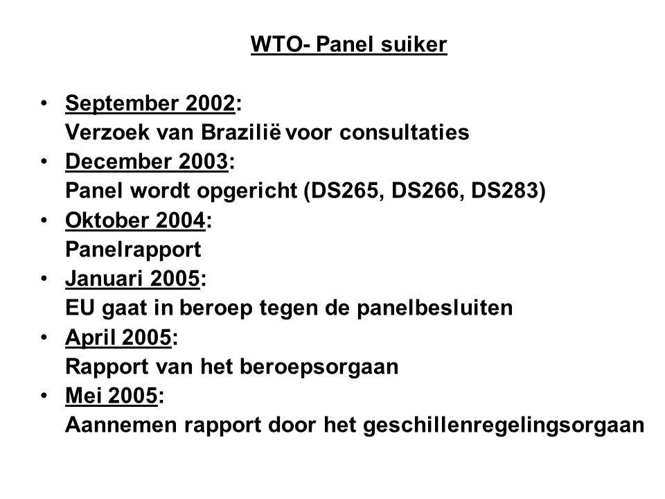 WTO- Panel suiker September 2002: Verzoek van Brazilië voor consultaties. December 2003: Panel wordt opgericht (DS265, DS266, DS283)