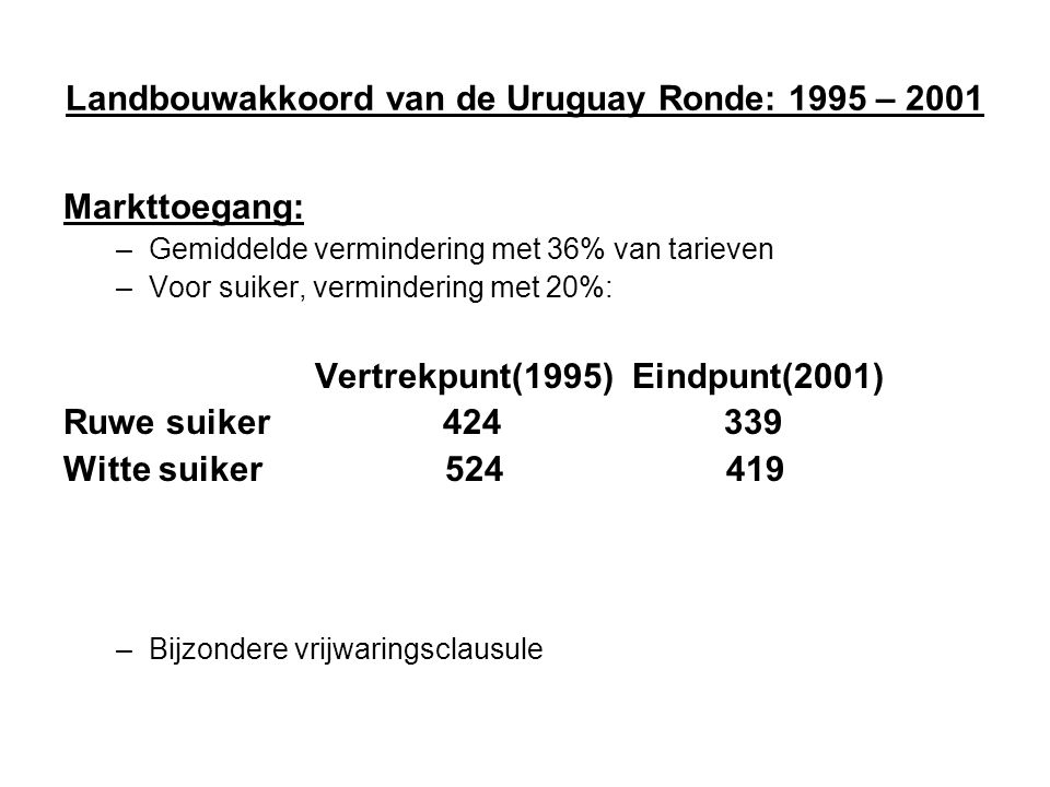 Landbouwakkoord van de Uruguay Ronde: 1995 – 2001