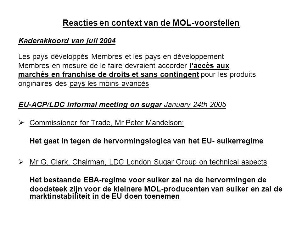 Reacties en context van de MOL-voorstellen