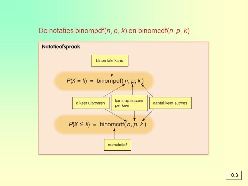 De notaties binompdf(n, p, k) en binomcdf(n, p, k)