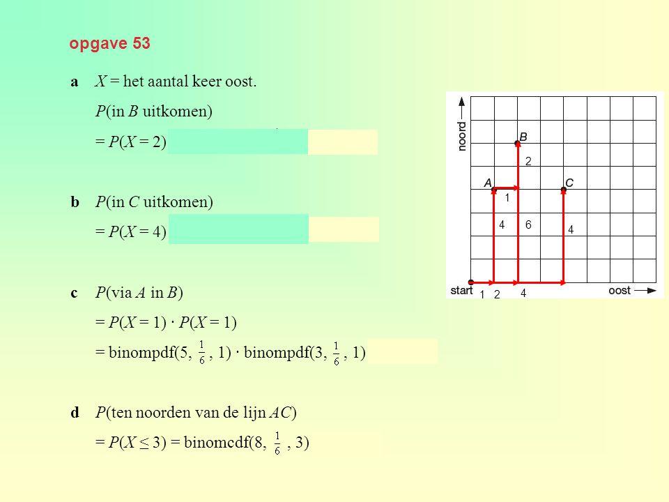 a X = het aantal keer oost. P(in B uitkomen)