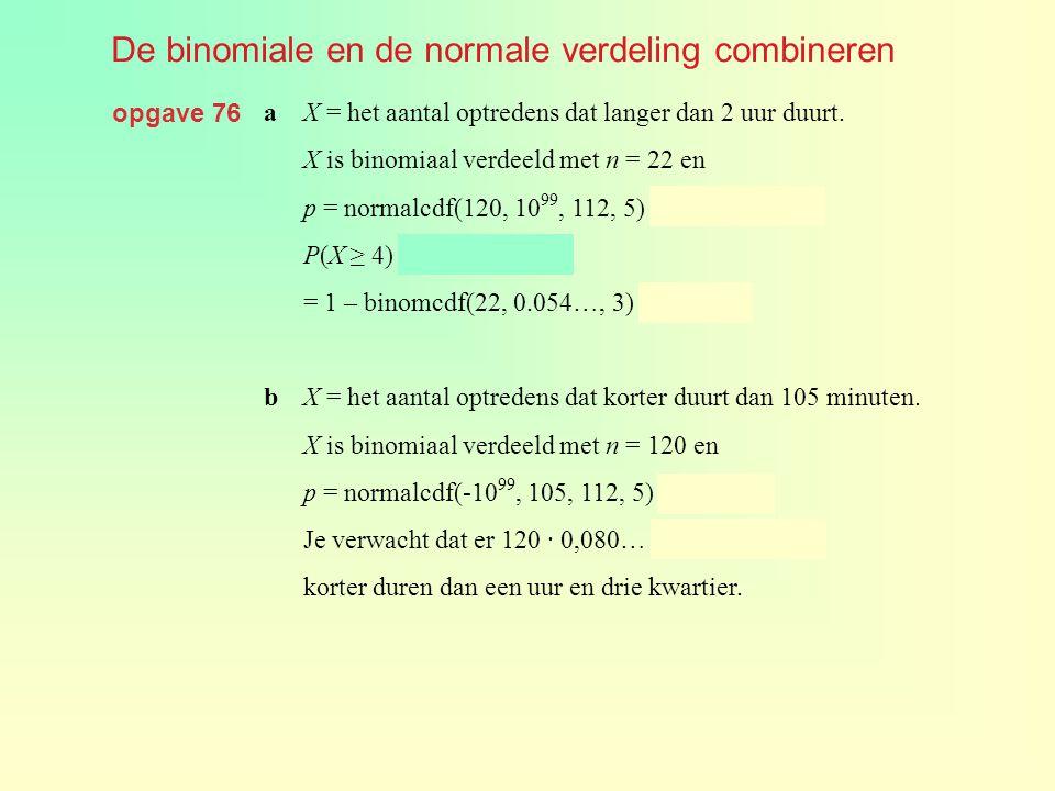 De binomiale en de normale verdeling combineren