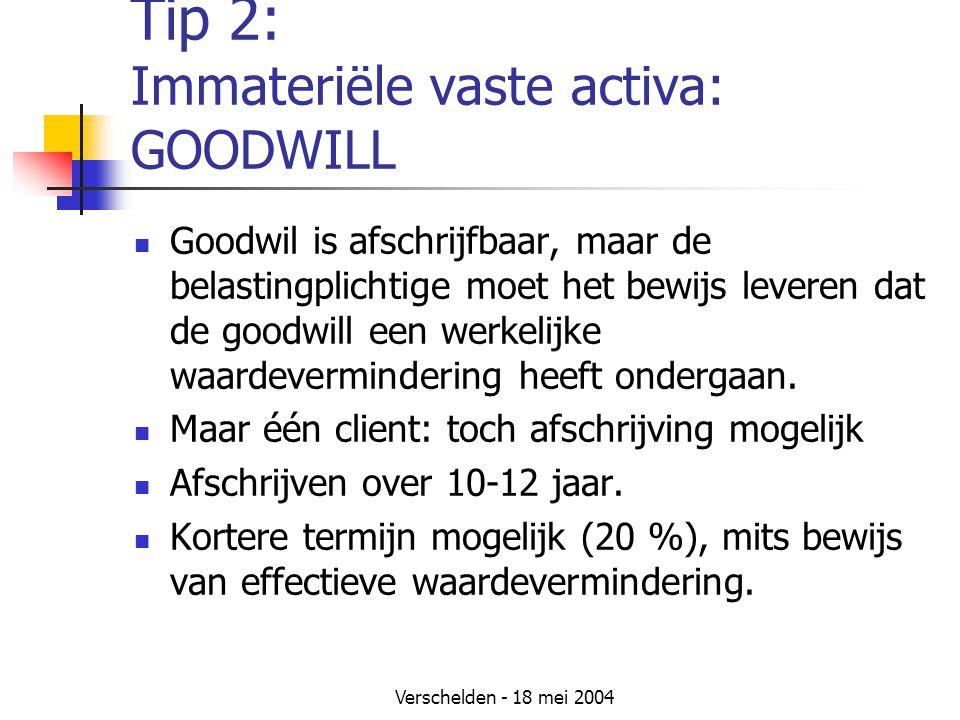 Tip 2: Immateriële vaste activa: GOODWILL