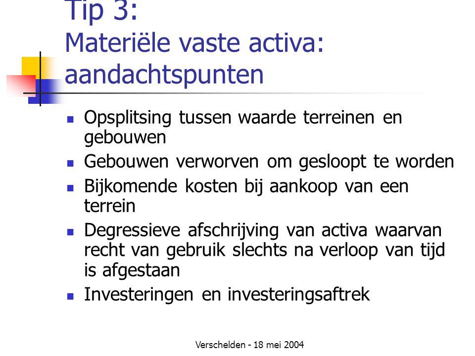 Tip 3: Materiële vaste activa: aandachtspunten