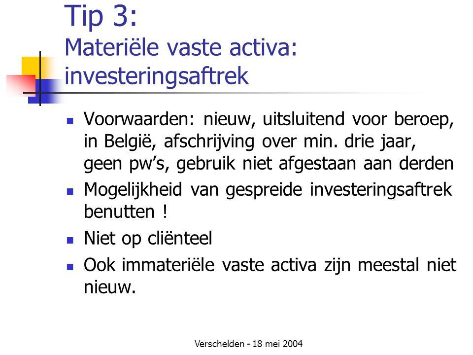 Tip 3: Materiële vaste activa: investeringsaftrek