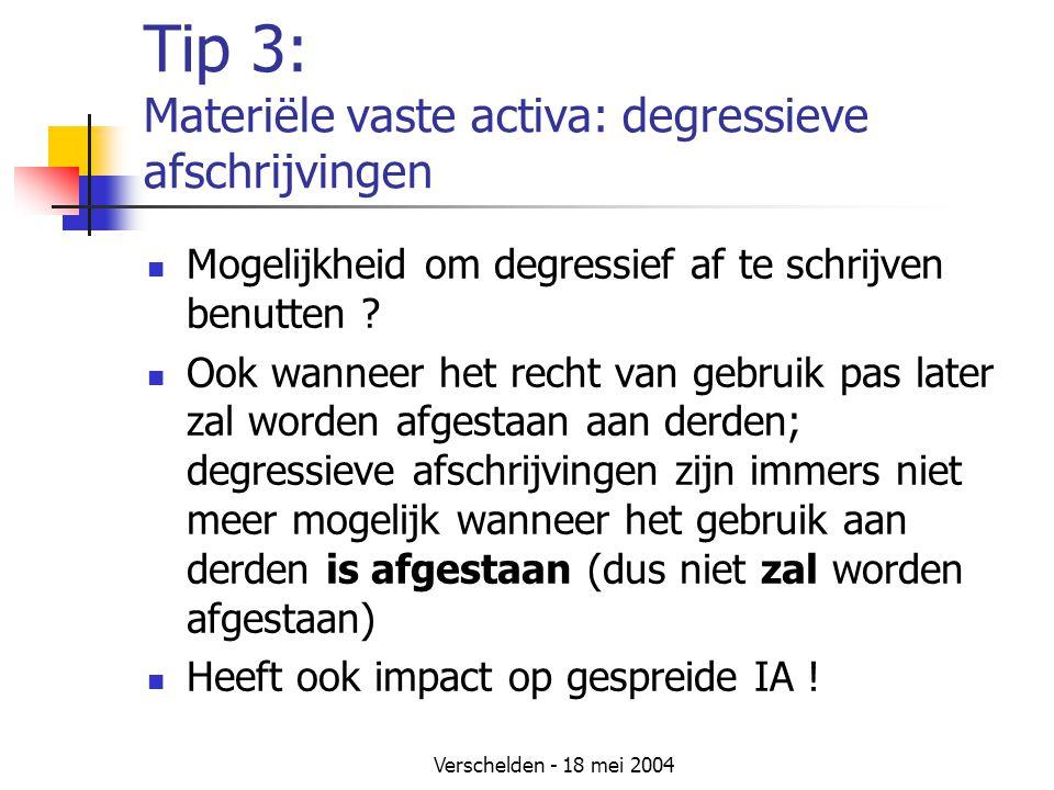 Tip 3: Materiële vaste activa: degressieve afschrijvingen