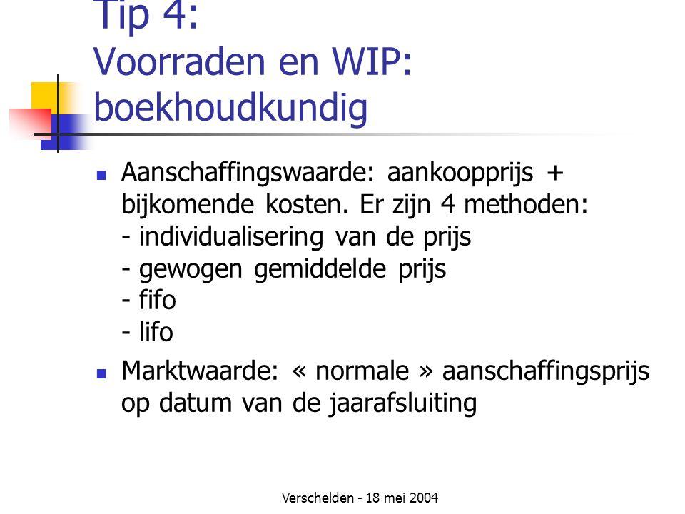 Tip 4: Voorraden en WIP: boekhoudkundig