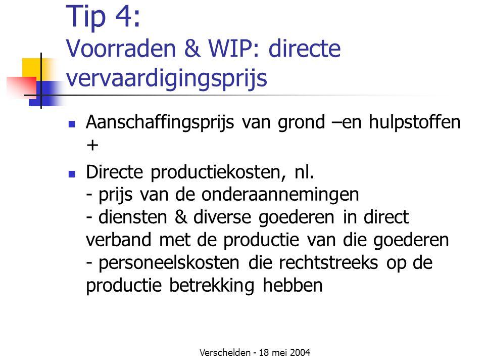 Tip 4: Voorraden & WIP: directe vervaardigingsprijs