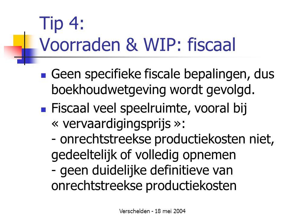 Tip 4: Voorraden & WIP: fiscaal