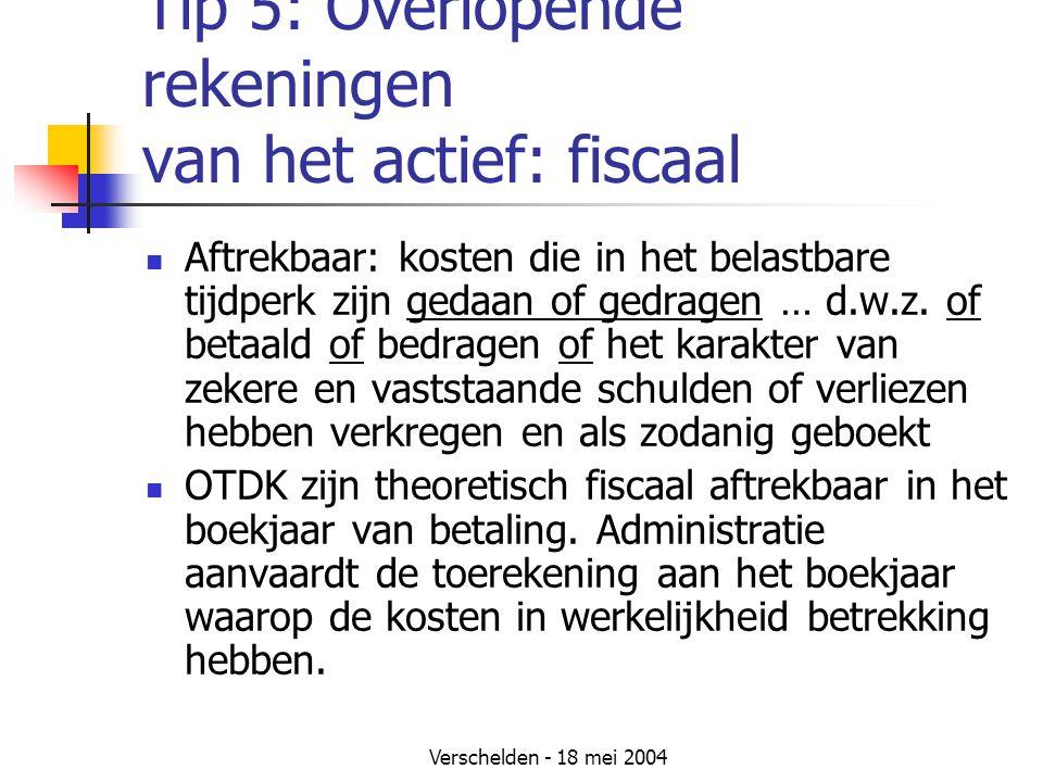 Tip 5: Overlopende rekeningen van het actief: fiscaal