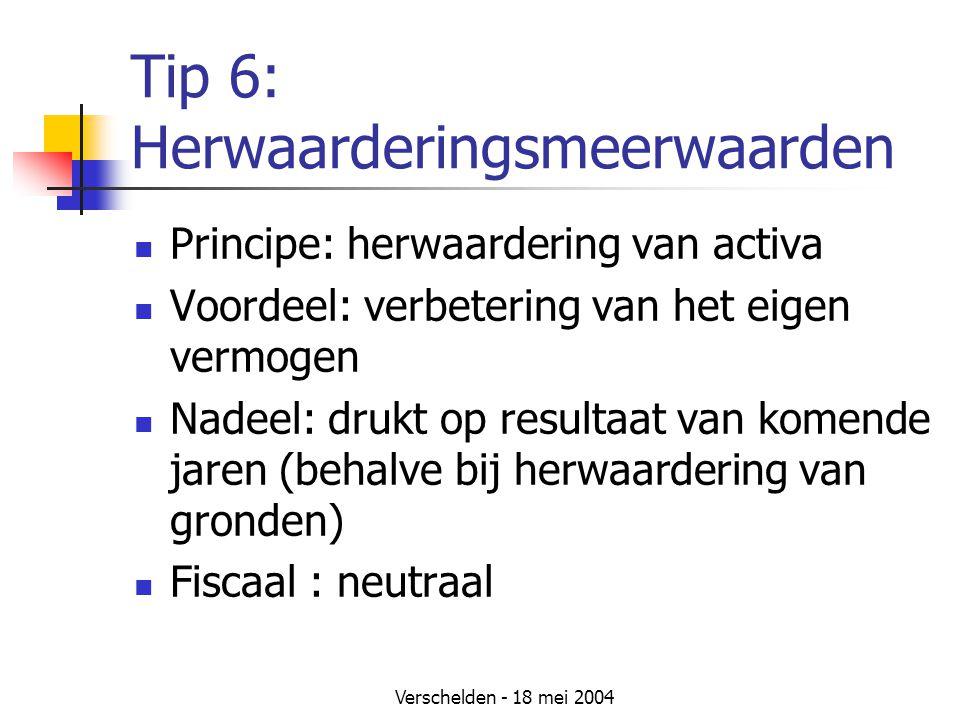 Tip 6: Herwaarderingsmeerwaarden