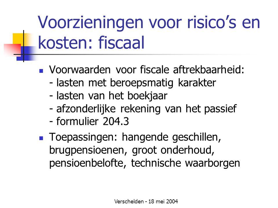 Voorzieningen voor risico's en kosten: fiscaal