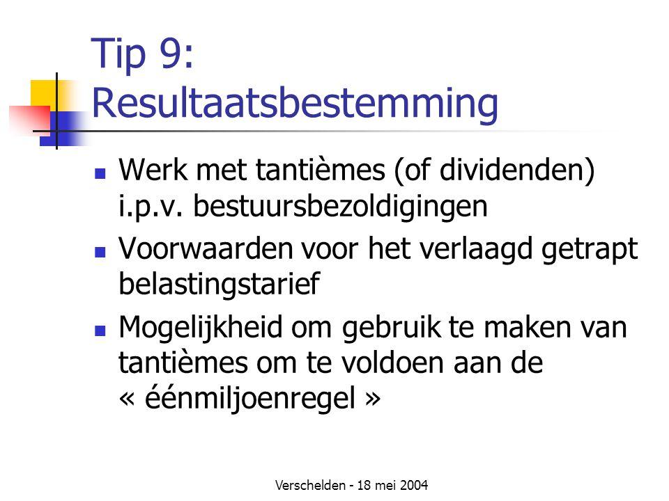 Tip 9: Resultaatsbestemming