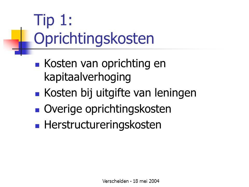 Tip 1: Oprichtingskosten
