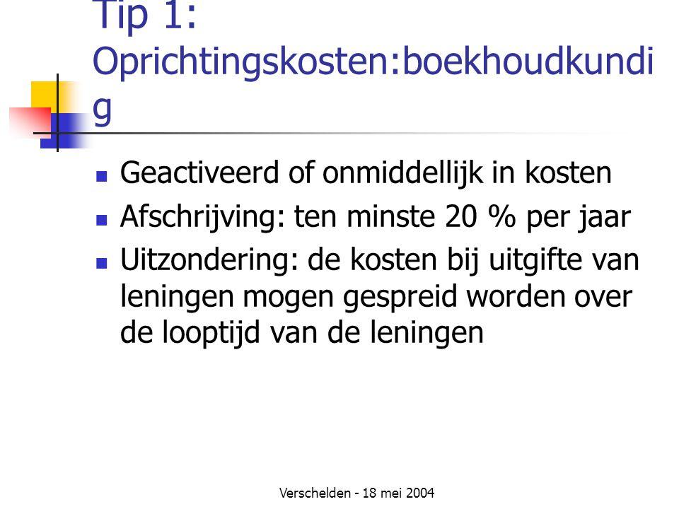Tip 1: Oprichtingskosten:boekhoudkundig