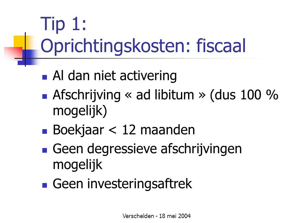 Tip 1: Oprichtingskosten: fiscaal