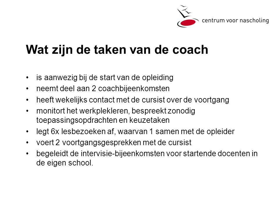 Wat zijn de taken van de coach