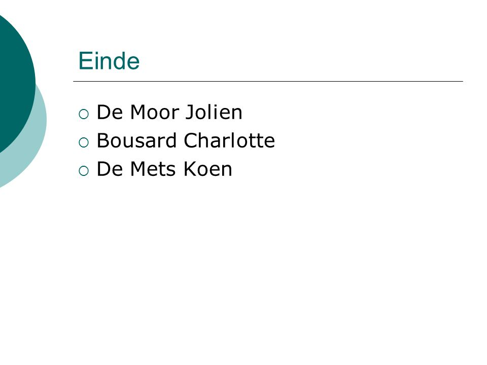 Einde De Moor Jolien Bousard Charlotte De Mets Koen