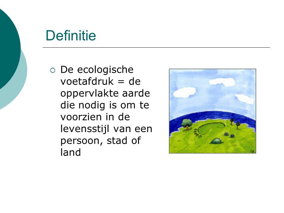 Definitie De ecologische voetafdruk = de oppervlakte aarde die nodig is om te voorzien in de levensstijl van een persoon, stad of land.