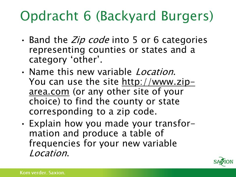 Opdracht 6 (Backyard Burgers)