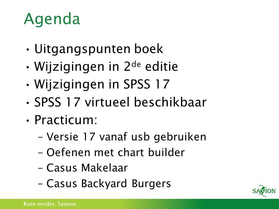Agenda Uitgangspunten boek Wijzigingen in 2de editie