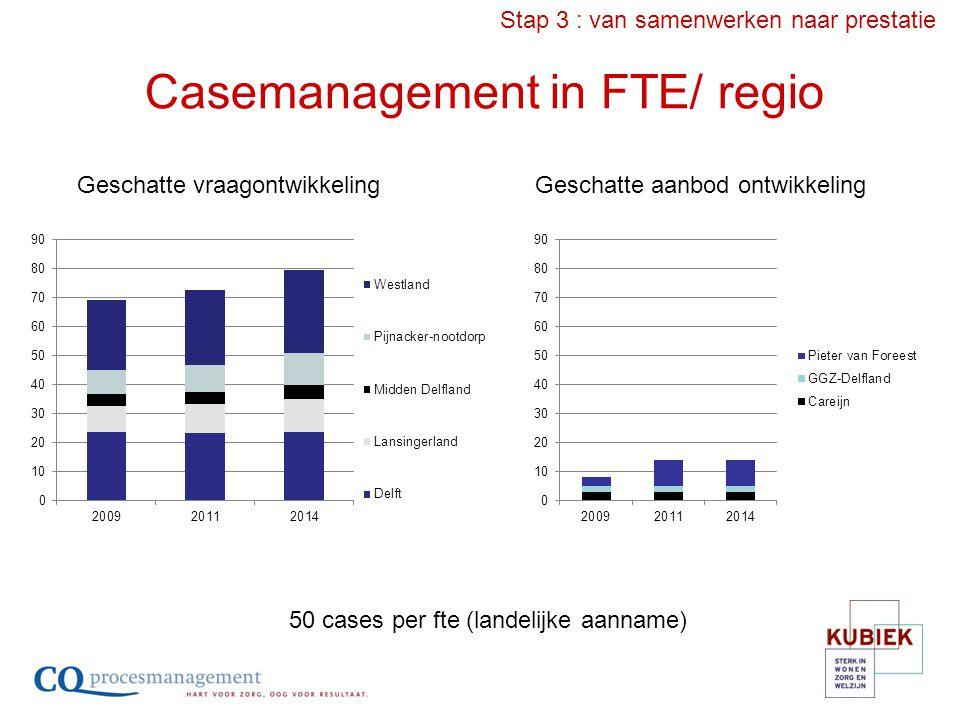 Casemanagement in FTE/ regio