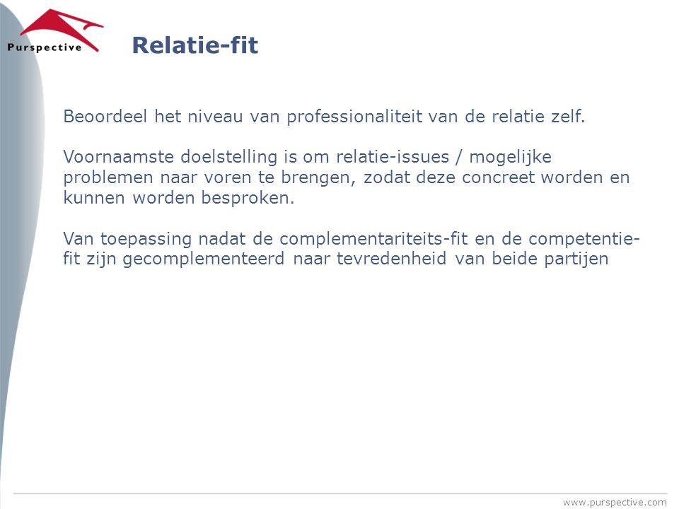 Relatie-fit Beoordeel het niveau van professionaliteit van de relatie zelf.