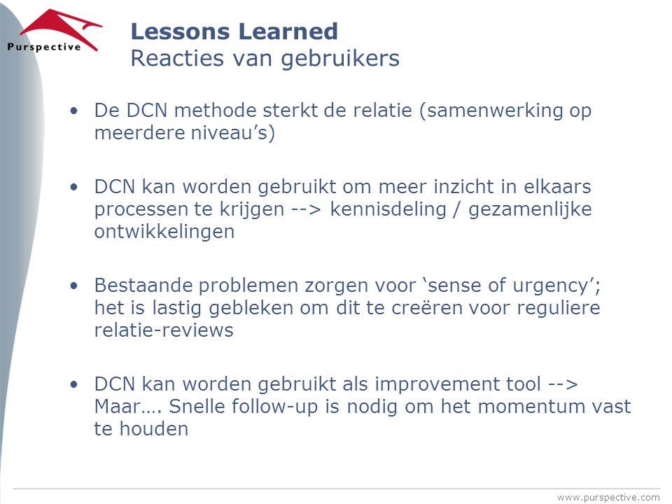 Lessons Learned Reacties van gebruikers