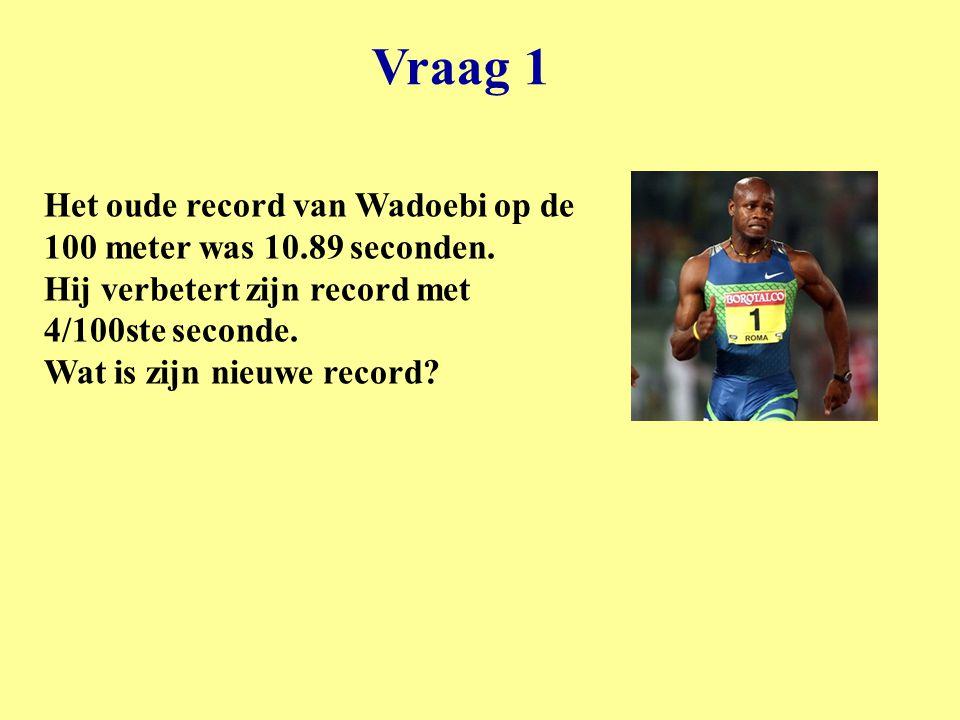 Vraag 1 Het oude record van Wadoebi op de 100 meter was 10.89 seconden.