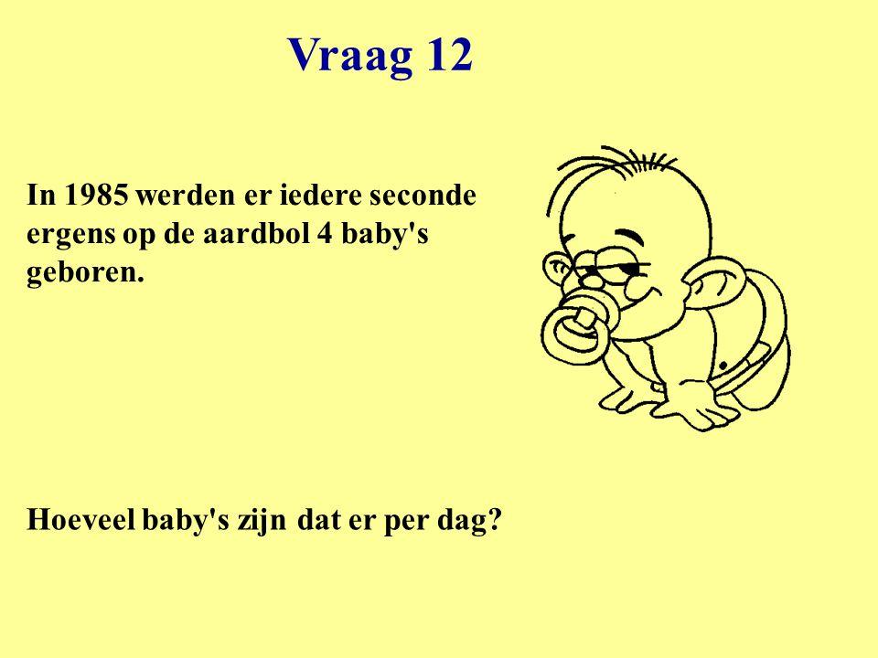 Vraag 12 In 1985 werden er iedere seconde ergens op de aardbol 4 baby s geboren.