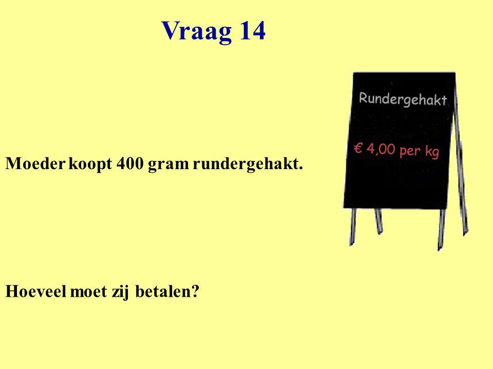 Vraag 14 Moeder koopt 400 gram rundergehakt. Hoeveel moet zij betalen