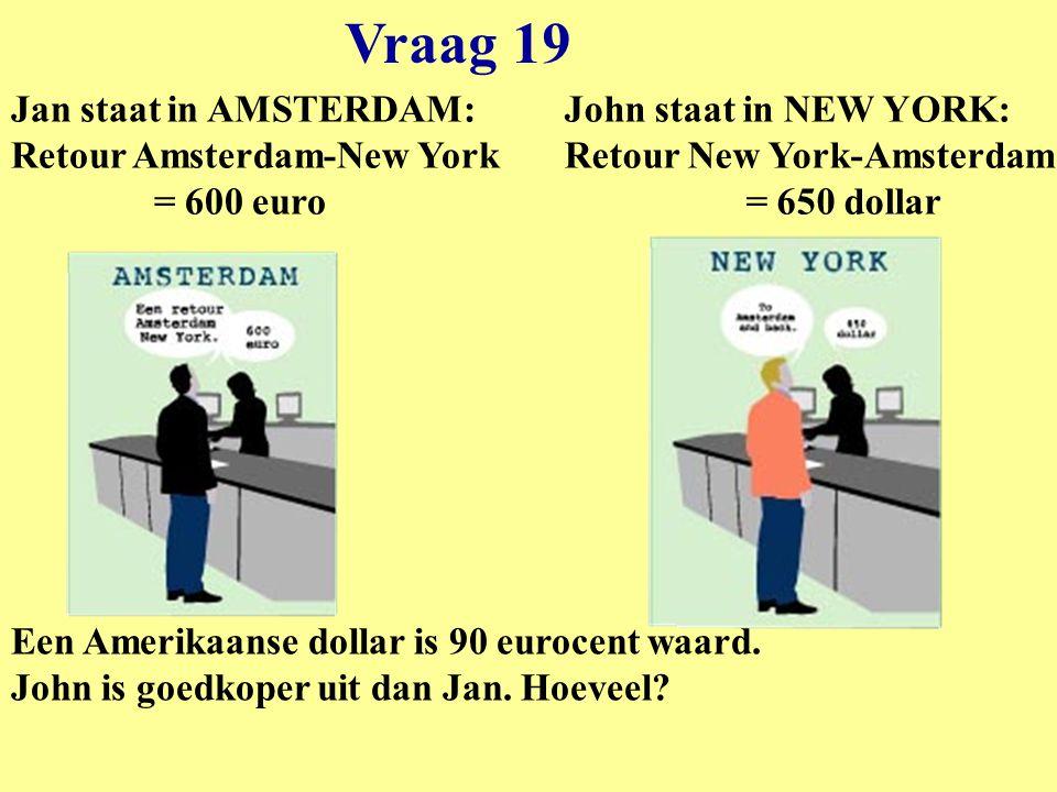 Vraag 19 Jan staat in AMSTERDAM: Retour Amsterdam-New York = 600 euro