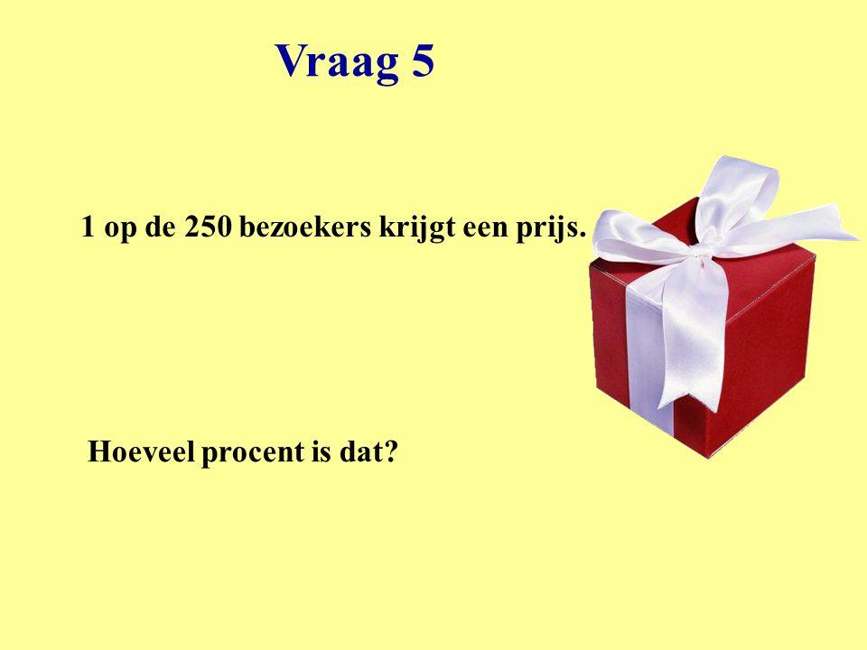 Vraag 5 1 op de 250 bezoekers krijgt een prijs.