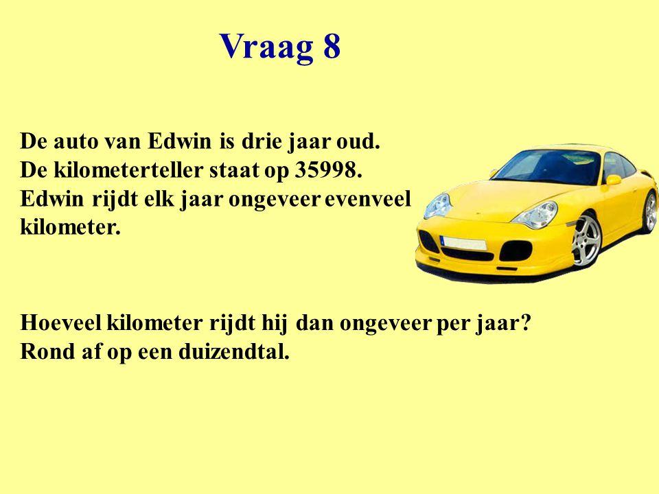 Vraag 8 De auto van Edwin is drie jaar oud. De kilometerteller staat op 35998. Edwin rijdt elk jaar ongeveer evenveel kilometer.