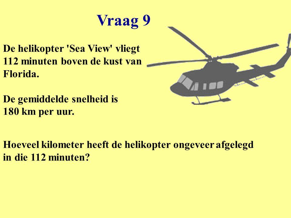 Vraag 9 De helikopter Sea View vliegt 112 minuten boven de kust van Florida. De gemiddelde snelheid is 180 km per uur.