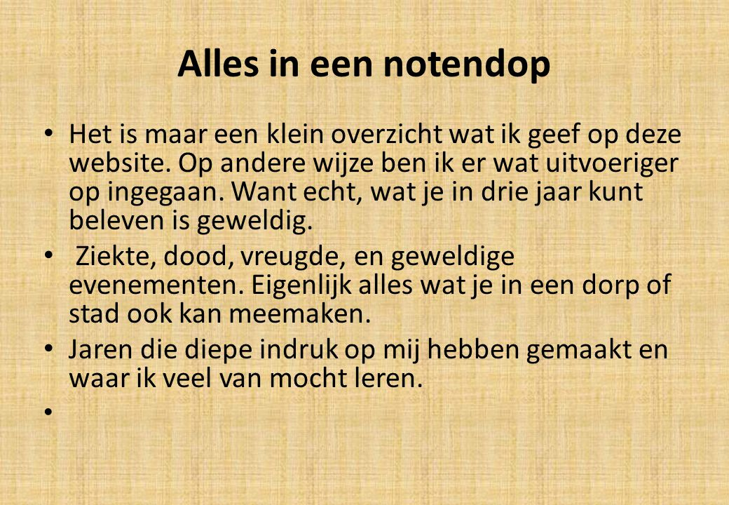 Alles in een notendop
