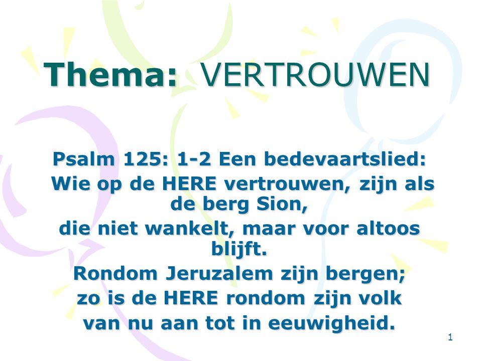 Thema: VERTROUWEN Psalm 125: 1-2 Een bedevaartslied: