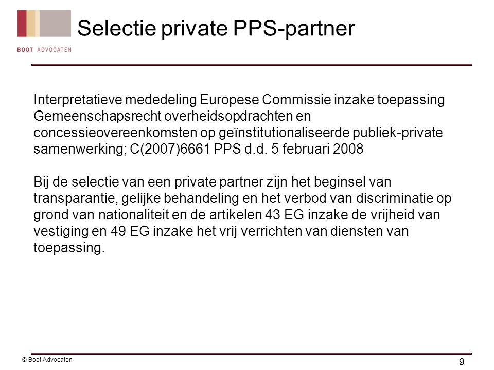 Selectie private PPS-partner