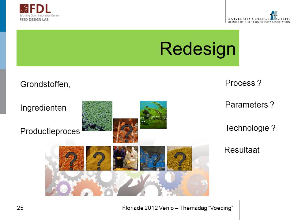 Redesign Grondstoffen, Ingredienten Productieproces Process Duck. Weed Algea. Parameters