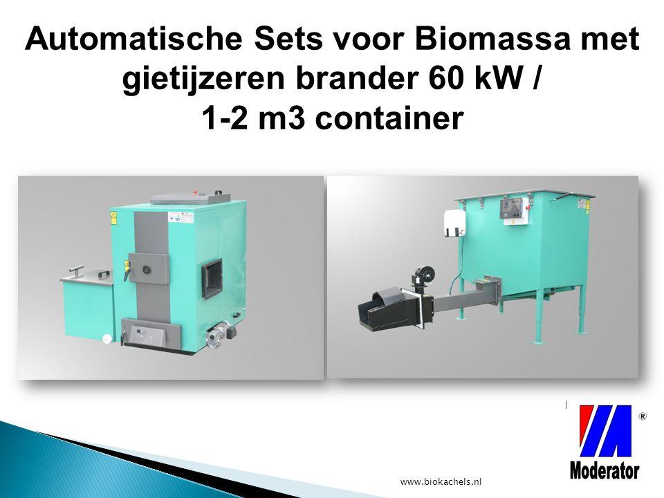 Automatische Sets voor Biomassa met gietijzeren brander 60 kW / 1-2 m3 container