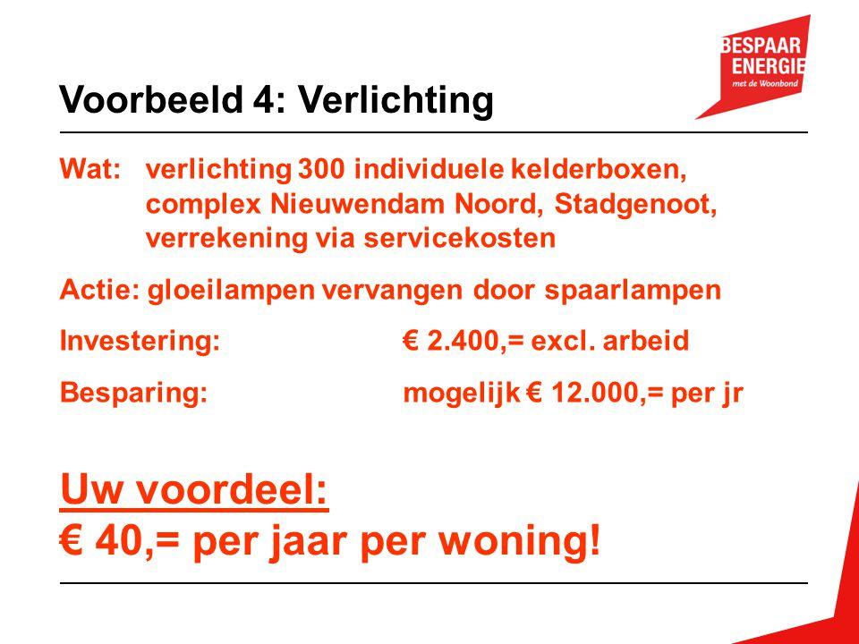 Uw voordeel: € 40,= per jaar per woning! Voorbeeld 4: Verlichting