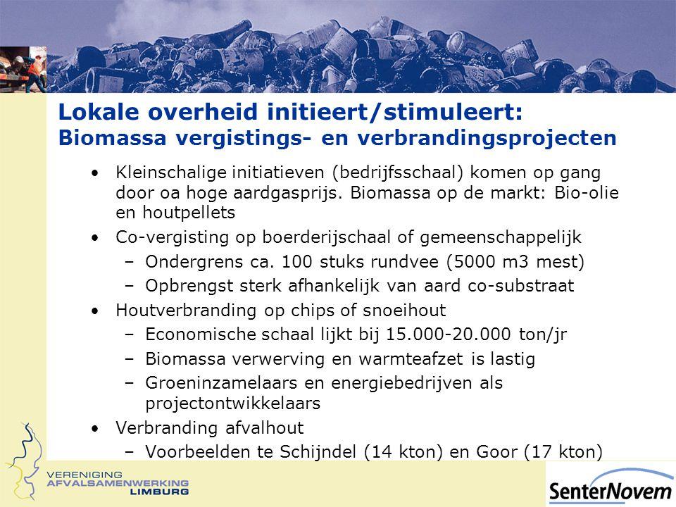 Lokale overheid initieert/stimuleert: Biomassa vergistings- en verbrandingsprojecten