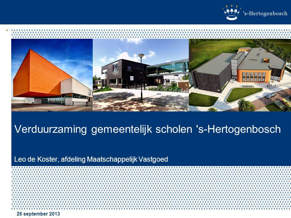 Verduurzaming gemeentelijk scholen s-Hertogenbosch Leo de Koster, afdeling Maatschappelijk Vastgoed