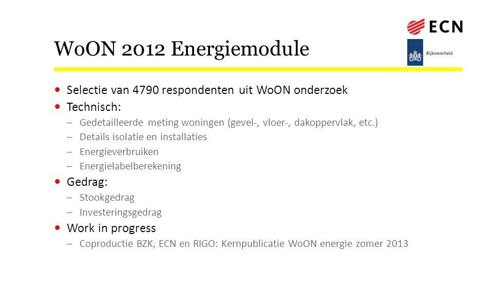 WoON 2012 Energiemodule Selectie van 4790 respondenten uit WoON onderzoek. Technisch: