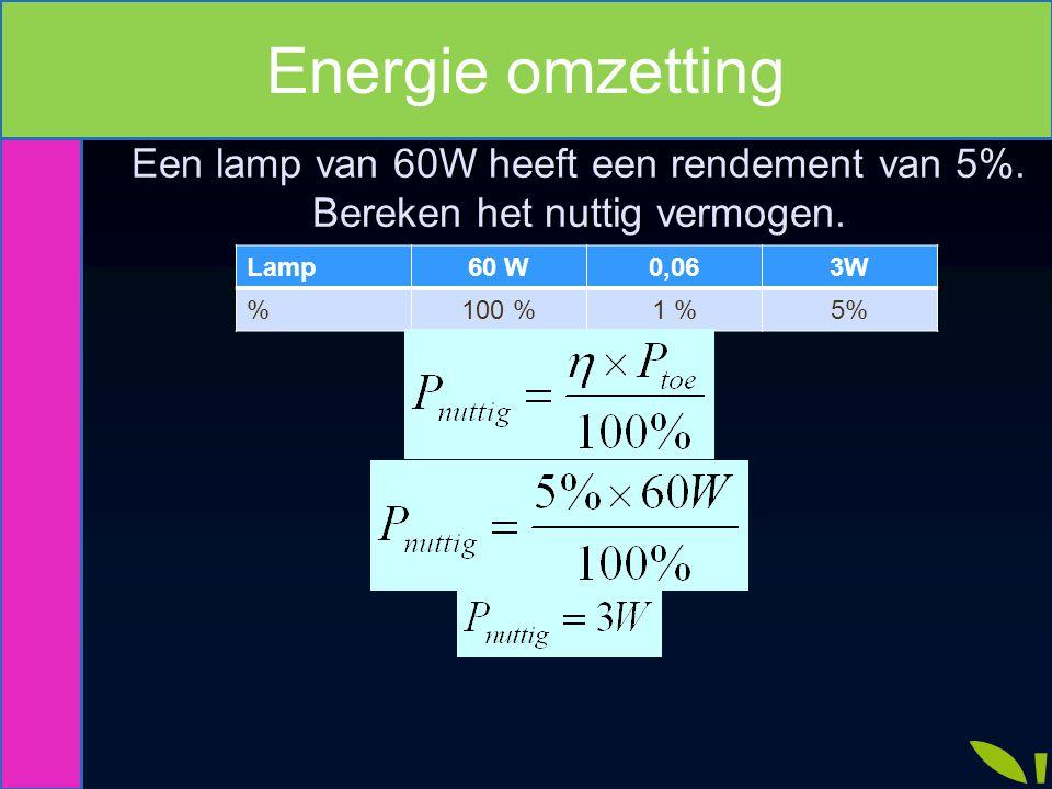 Energie omzetting Een lamp van 60W heeft een rendement van 5%. Bereken het nuttig vermogen. Lamp. 60 W.