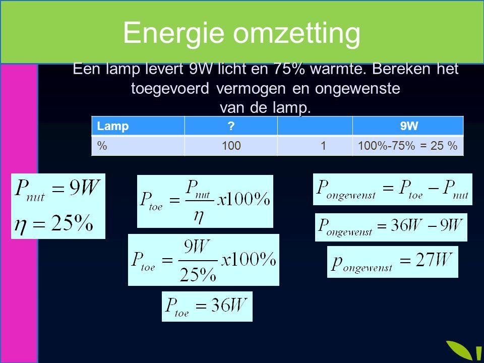 Energie omzetting Een lamp levert 9W licht en 75% warmte. Bereken het toegevoerd vermogen en ongewenste.